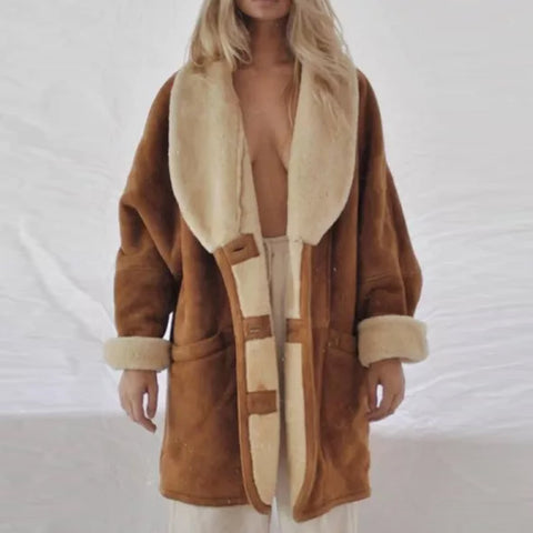 Women's Fashion Retro Furry Brown Midi Jacket