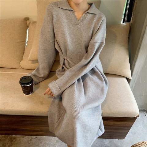 Casual Solid Color Lapel Knit Dress