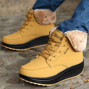 Winter Warm Shape Ups Shoes Fur Lined Wedge Shoes