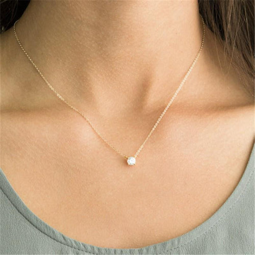 Fashion simple zircon clavicle necklace