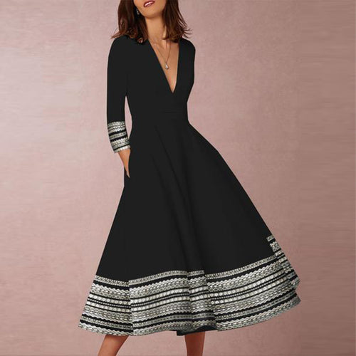 2019 Deep V-Neck Patchwork Geometric Printed Long Sleeve Skater Dress