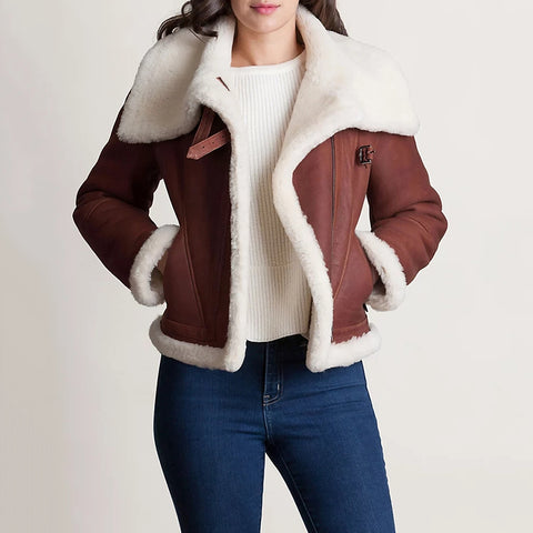 Women's Wool Lapel Collar Zipper Jacket
