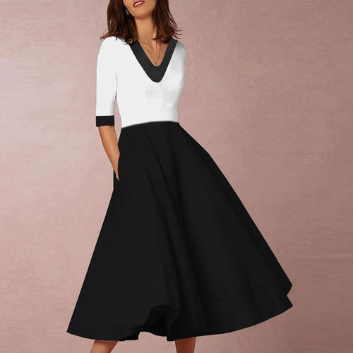 Majorgous V-Neck Black and White Plain Half Sleeve Skater Dress