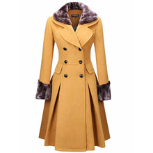 Classical Double Breasted Faux Fur Collar Swing Woolen Coat