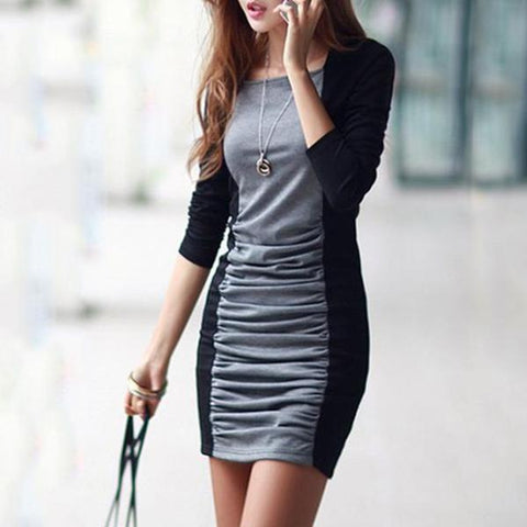 Color Block Ruched Round Neck Bodycon Dress