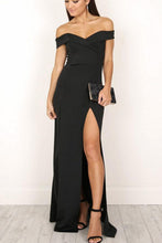 Elegant Off Shoulder Slit Maxi Dresses