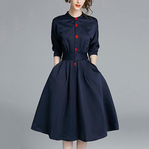 2019 Band Collar Pocket Plain Midi Skater Dress