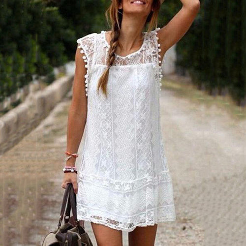Round Neck  Tassel  Lace Plain Casual Dress