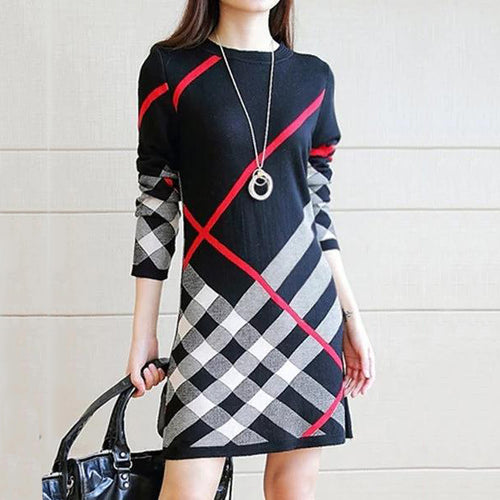 Round Neck  Printed  Cotton Blend Shift Dress