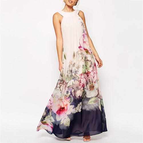 Long Printed Floral Vacation Maxi Dress