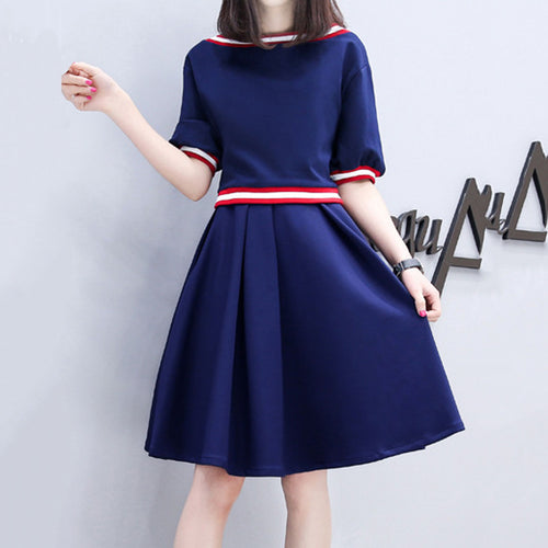 Boat Neck  Contrast Trim  Color Block Skater Dress