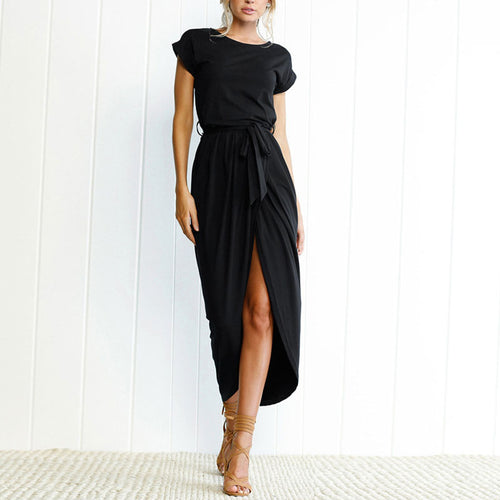 Majorgous Random Elegant Short Sleeves Splited Hem Maxi Dresses