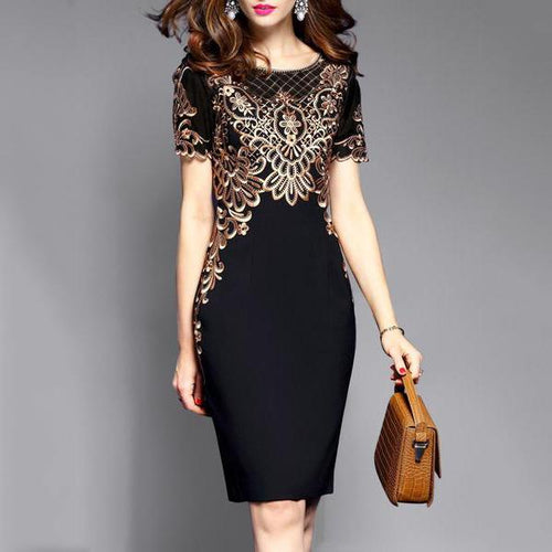 Majorgous Round Neck  Abstract Print Bodycon Dress