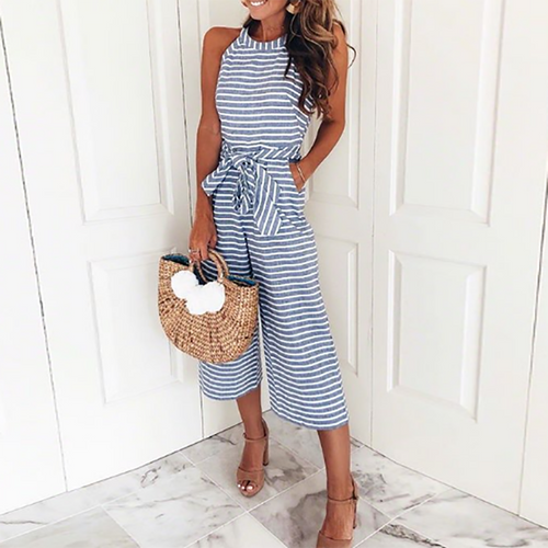 Majorgous Round Neck Sleeveless Striped Belt Vacation Casual Jumpsuit