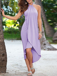 Halter  High-Low Maxi Dress