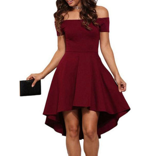 Open Shoulder  Asymmetric Hem  Plain  Raglan Sleeve Skater Dress