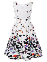 Boat Neck  Bowknot  Belt  Butterfly Prints Skater Dress
