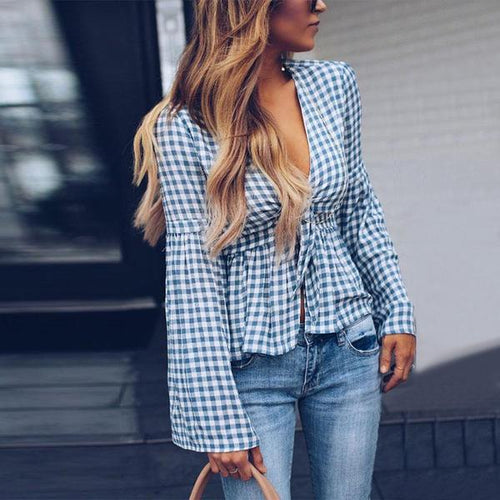 Deep V Neck Gingham Bell Sleeve Blouse