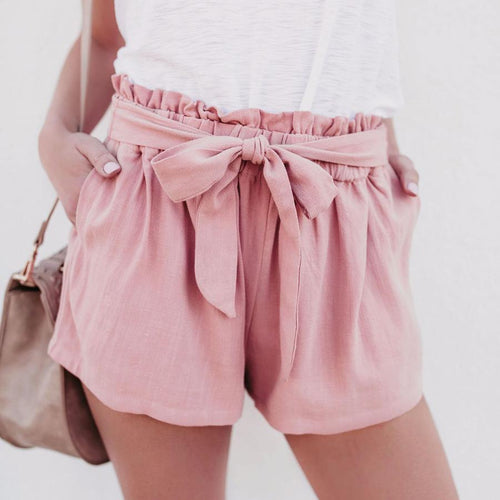 Casual High Waist Solid Color Shorts