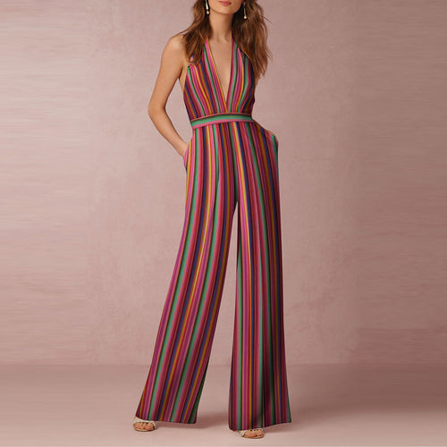 2019 Halter Pocket Plain Wide-Leg Jumpsuit