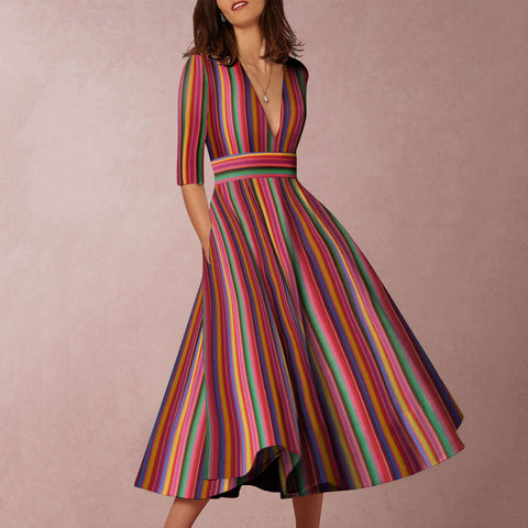 2019 Deep V-Neck Multicolor Stripe Formal Skater Dress