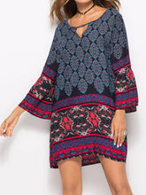 Round Neck  Printed Shift Dress