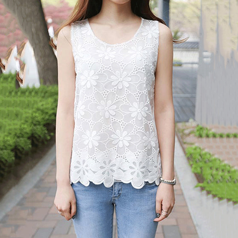 Round Neck  Decorative Lace  Plain Sleeveless T-Shirts