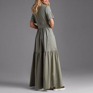 Button Down Collar  Half Sleeve Maxi Dresses