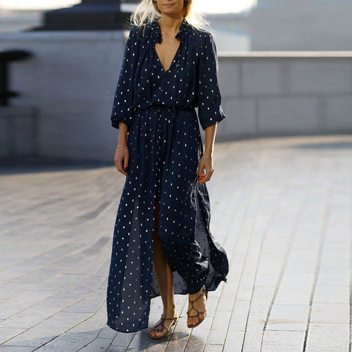 2019 Women Fashion V Neck Printing Chiffon Maxi Dresses