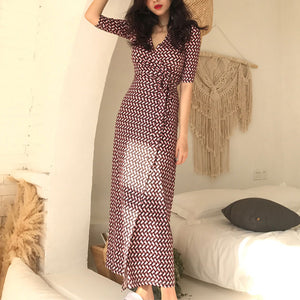 V Collar  Forking Temperament Maxi Dress