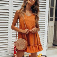Sexy Orange Sleeveless Mini Dress