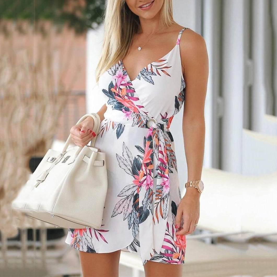 Fashion White Floral Print Mini Skater Dress