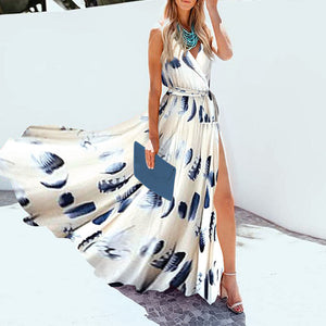 2019 V-Neck Fashionable Split Printed Sleeveless Holiday Maxi Dress
