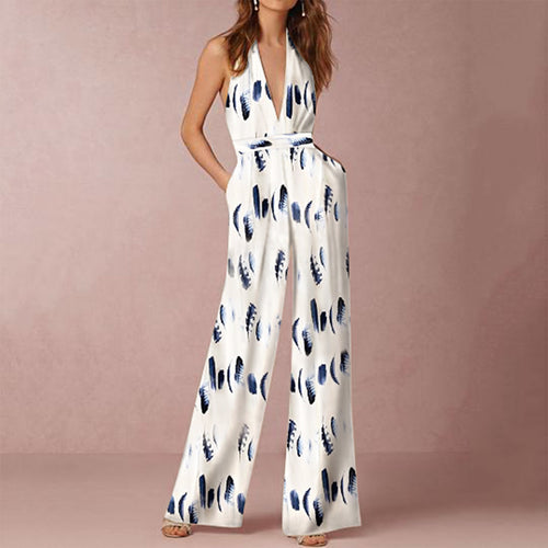 Women Fashion Deep V Neck Sleeveless Floral Print Jumpsuit