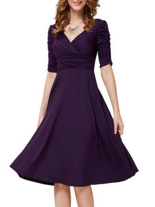 Majorgous Sexy V-Neck Half Sleeve Solid Skater Dress