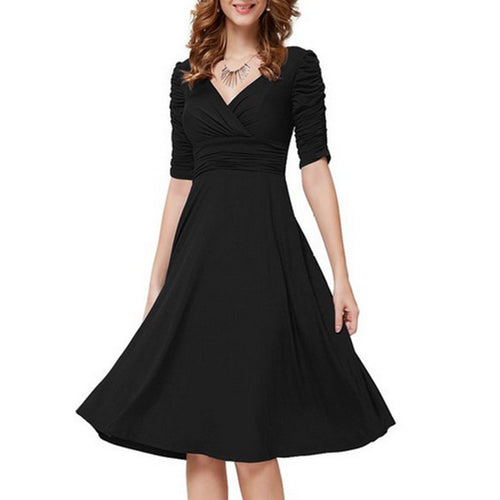 2019 Sexy V-Neck Half Sleeve Solid Skater Dress