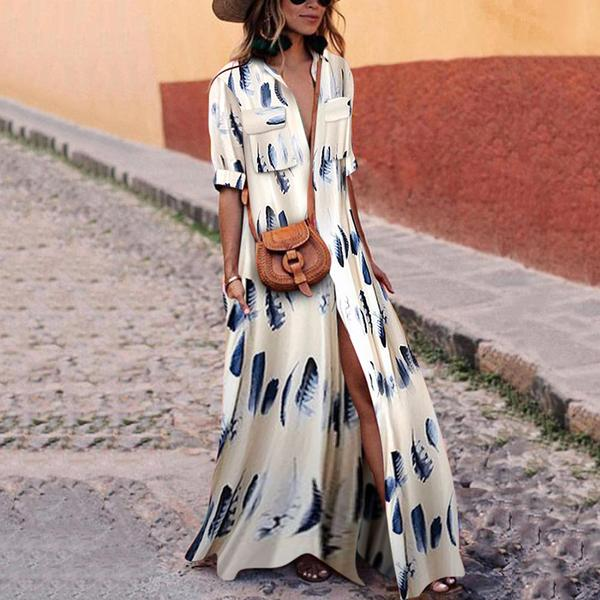 2019 Button Down Collar Stripes Half Sleeve Maxi Dress