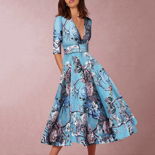 2019 Sexy Lake Blue Half Sleeves Floral Print Skater Dress