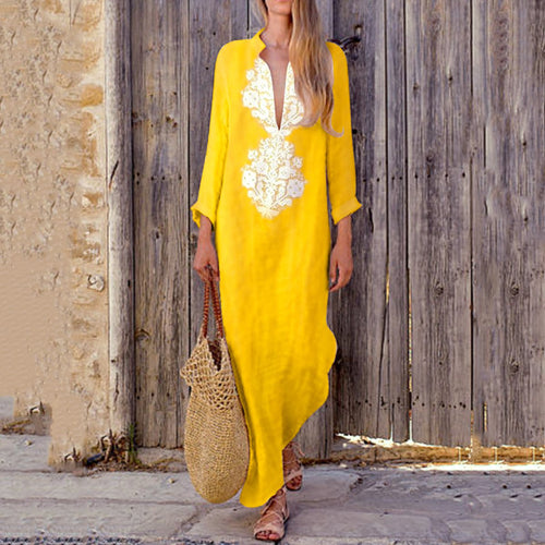 Fashionable Cotton/Line Casual V-Neck Yellow Boho Dress