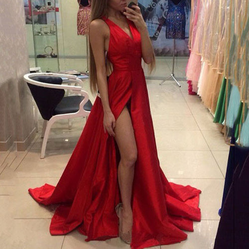 Sexy Red Sleeveless Plain Evening Dress