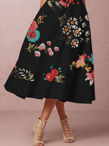 2019 Deep V-Neck Printed Formal Skater Dress