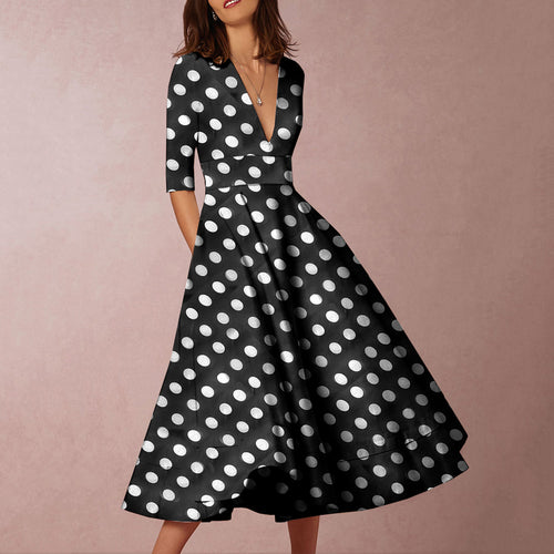 Majorgous Women Sexy V Neck Polka Dot Half Sleeve Printed Skater Dress