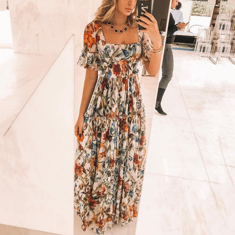 2019 Sexy Boat Neck Wrapped Chest Short Sleeve Floral Print Maxi Dress