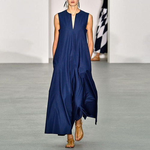 Majorgous V Collar With Sleeveless And Minimalism Maxi Dress