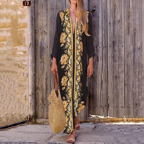 Majorgous Turn Down Collar  Printed Maxi Dress