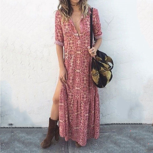 Majorgous Sexy V Neck Floral Printed Side Split Vacation Maxi Dress