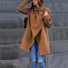 Asymmetric Neck  Belt  Plain Outerwear