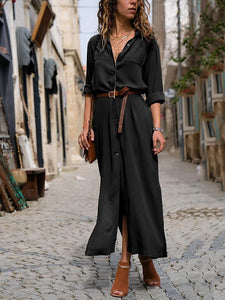 Fashionable Loose Long Sleeved Maxi Dress
