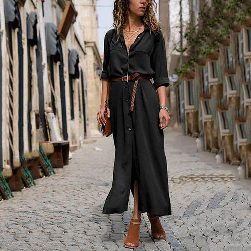 2019 Fashionable V Neck Split Loose Long Sleeved Maxi Dress