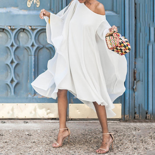 Chiffon Off-The-Shoulder Sleeve Casual Midi Dress